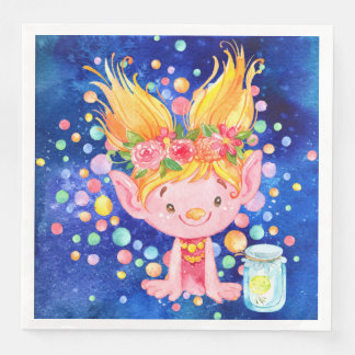 Cute Blond Point Eared Troll and Firefies Paper Dinner Napkin