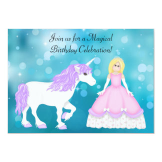 Cute Blond Princess and Unicorn Birthday Card
