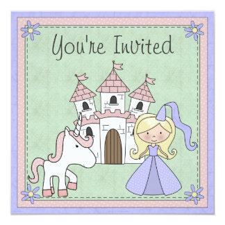 Cute Blond Princess and Unicorn Birthday Invite