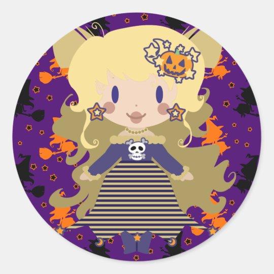 Cute Blond Sorceress Classic Round Sticker