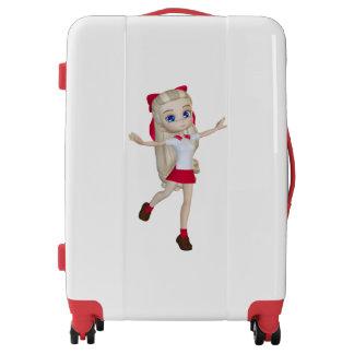 Cute Blond Student Girl Medium Sized Luggage