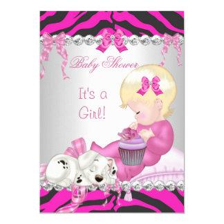 Cute Blonde Baby Shower Girl Pink Zebra Cupcake Card