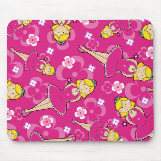 Cute Blonde Ballerina Repeat Pattern Mouse Pads