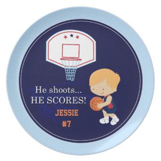 Cute blonde boy personalized basketball plate