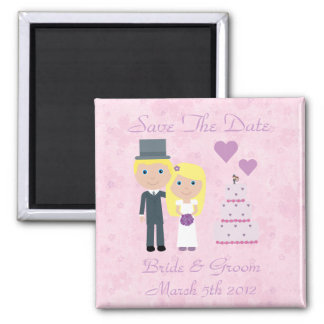 Cute Blonde Cartoon Bride & Groom Save The Date 2 Inch Square Magnet