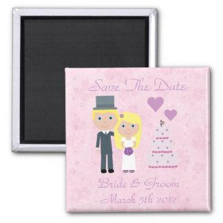 Cute Blonde Cartoon Bride & Groom Save The Date Magnet