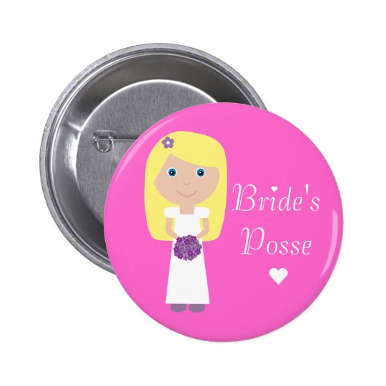 Cute Blonde Cartoon Bride's Posse Bachelorette Pinback Button