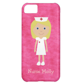 Cute Blonde Cartoon Nurse Personalized Pink iPhone 5C Cover