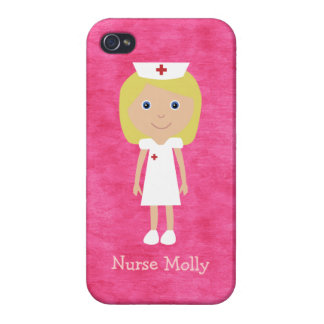 Cute Blonde Cartoon Nurse Personalized Pink Case For iPhone 4