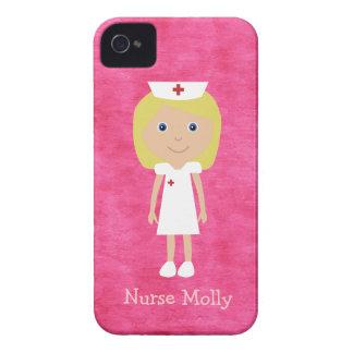 Cute Blonde Cartoon Nurse Personalized Pink iPhone 4 Cover