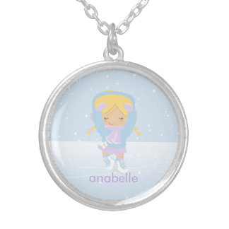 Cute Blonde Figure Skater Silver Plated Necklace