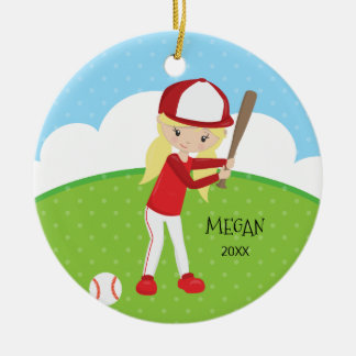 Cute Blonde Girl Baseball Personalized Christmas Ceramic Ornament