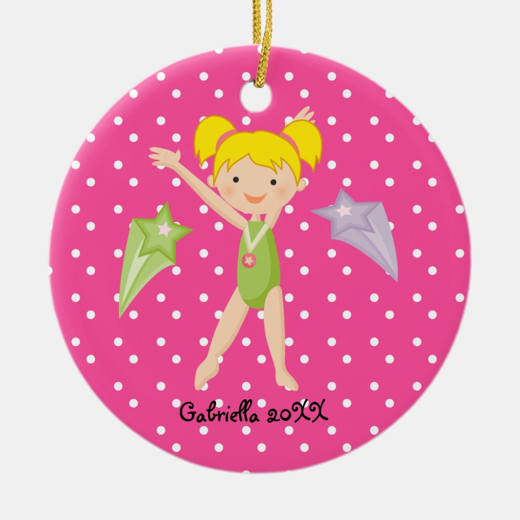 Cute Blonde Haired Gymnast Christmas Ornament