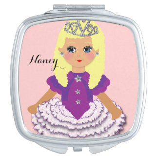 Cute Blonde Kids Pretty Princess Character Mirror For Makeup