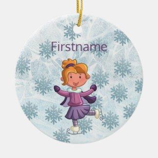 Cute blonde little girl ice skating ornament