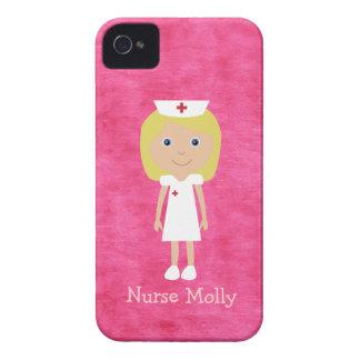 Cute Blonde Nurse Personalized Pink iPhone 4 Case