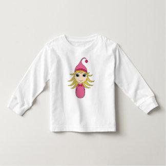 Cute blonde pajama girl chibi in pink toddler t-shirt