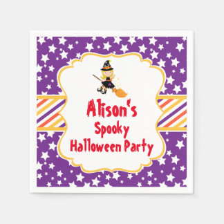 Cute Blonde Witch Halloween Party Napkin