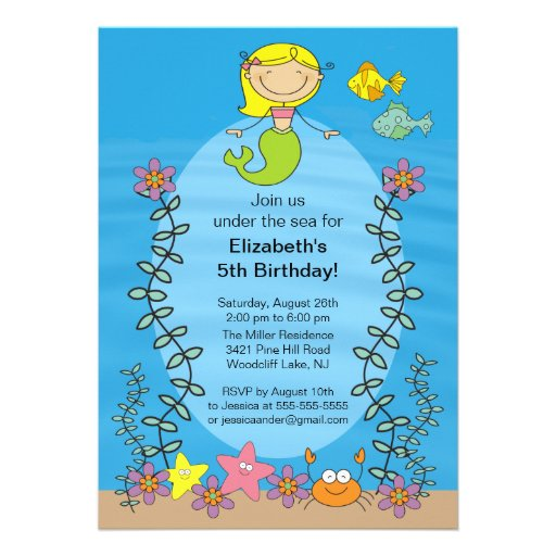 Cute Blone Mermaid Birthday Invitation