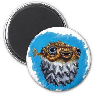 Cute Blowfish 2 Inch Round Magnet