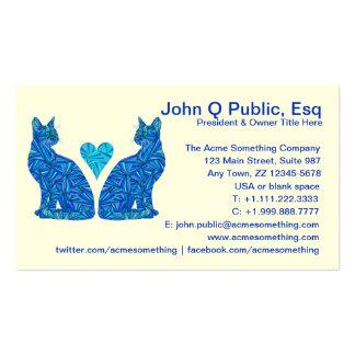 Cute Blue Abstract Cat Art Business Contact Card Business Card