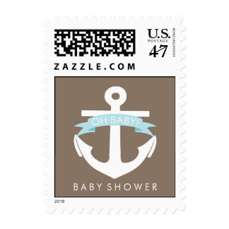 Cute Blue Anchor and Ribbon Nautical Baby Showe Postage