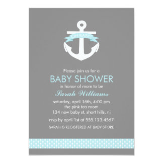 Cute Blue Anchor Nautical Theme Baby Shower 5x7 Paper Invitation Card