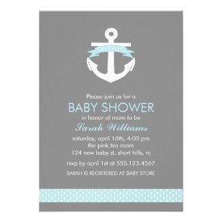 Cute Blue Anchor Nautical Theme Baby Shower Custom Announcement