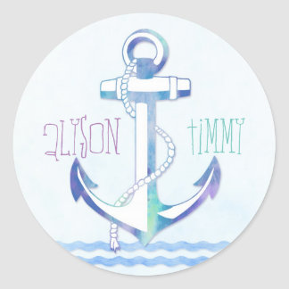 Cute Blue Anchor Summer Nautical Wedding Classic Round Sticker