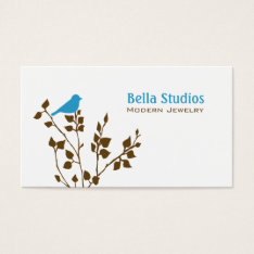 Cute Blue And Brown Bird Business Card at Zazzle