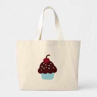 Cute Blue and Brown Birthday Cupcake Tote Bag