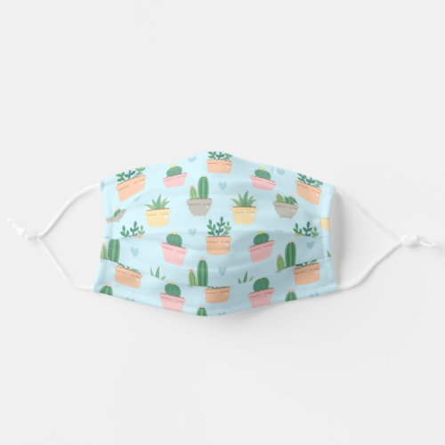 Cute Blue And Green Cactus Plant Pattern Cloth Face Mask