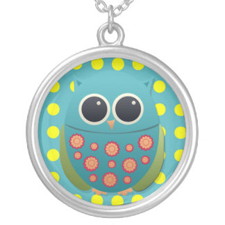 Cute Blue and Green Owl Necklace
