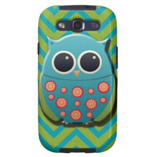 Cute Blue and Green Owl on Blue and Green Chevron Galaxy SIII Covers