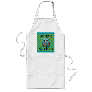 Cute Blue and Green Owl on Blue and Green Chevron Long Apron