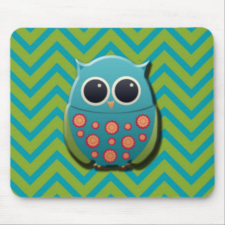 Cute Blue and Green Owl on Blue and Green Chevron Mouse Pad