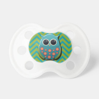 Cute Blue and Green Owl on Blue and Green Chevron Pacifier