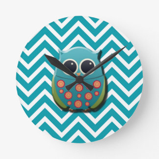 Cute Blue and Green Owl on Blue and White Chevron Round Wallclock