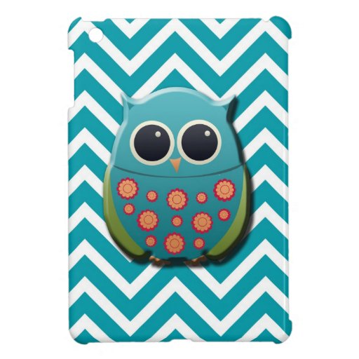 Cute Blue and Green Owl on Blue and White Chevron Case For The iPad Mini