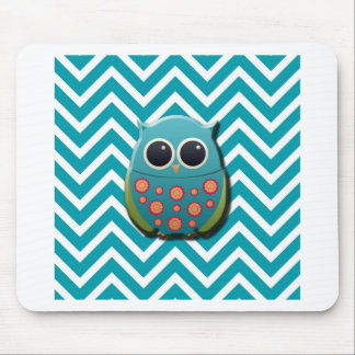 Cute Blue and Green Owl on Blue and White Chevron Mouse Pad