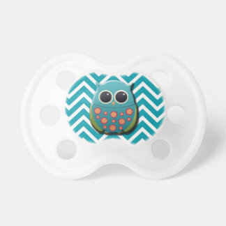 Cute Blue and Green Owl on Blue and White Chevron Pacifier