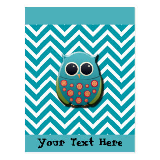 Cute Blue and Green Owl on Blue and White Chevron Postcard