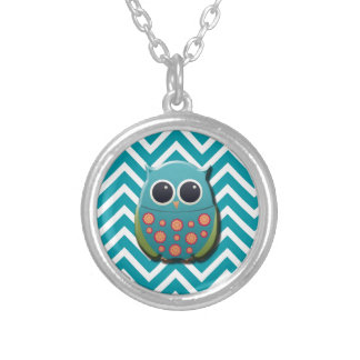 Cute Blue and Green Owl on Blue and White Chevron Silver Plated Necklace