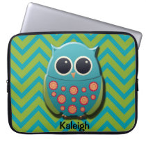 Cute Blue and Green Owl on Chevron Laptop Sleeve