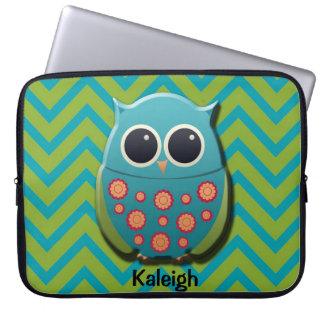 Cute Blue and Green Owl on Chevron Laptop Sleeve Computer Sleeve