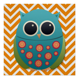 Cute Blue and Green Owl on Chevron Zigzag Poster