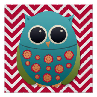Cute Blue and Green Owl on Chevron Zigzag Poster Poster