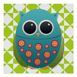 Cute Blue and Green Owl on Diamond Print Poster