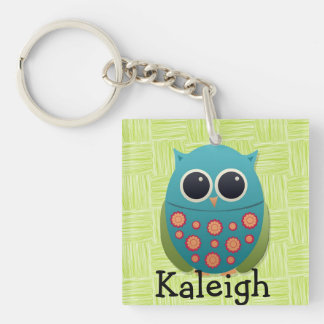 Cute Blue and Green Owl on Green Keychain