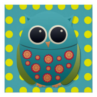 Cute Blue and Green Owl on Yellow Polka Dot Poster